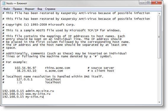 В файл hosts добавлены строки