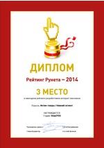 3 место в Рейтинг Рунета – 2014. Отрасль: Интим-товары. Нижний сегмент