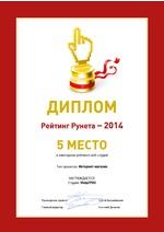 5 место в Рейтинге Рунета - 2014. Рейтинг веб-студий.