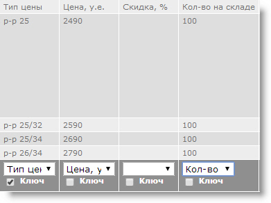 Количество в файле импорта