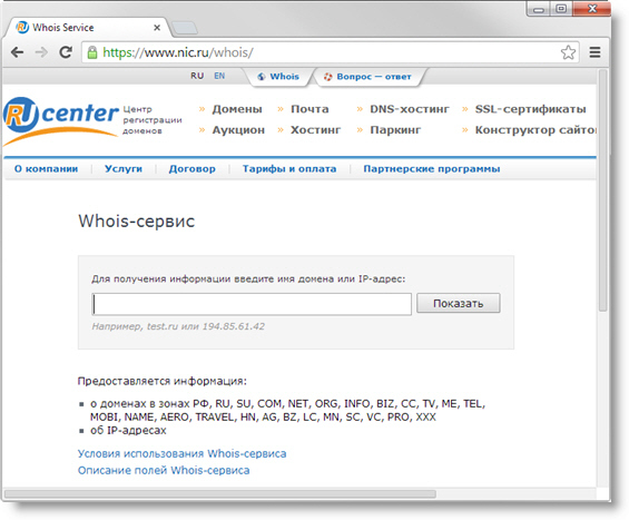 Форма для получения информации о доменах и адресах IP