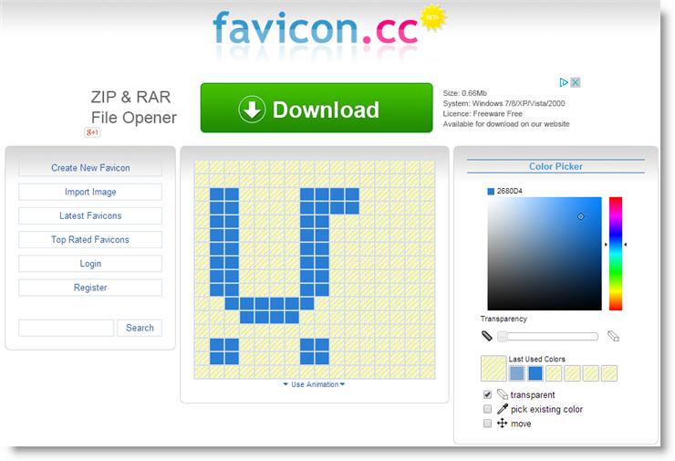 ������ ��� �������� ������ Favicon